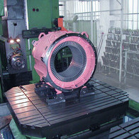 milling and drilling of an electric motor stator