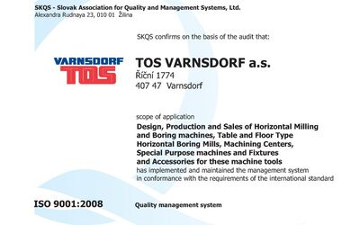 Audit of the ISO 9001:2008 certificate